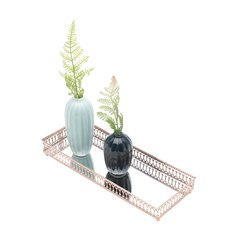 BANDEJA METAL MIRROR LONG CLASSIC BORDER COBRE ROSE GOLD