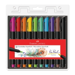 Caneta Brush Pen 10 Cores Supersoft (Faber Castell)