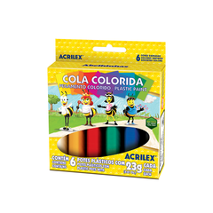 COLA COLORIDA 6 CORES 23GRS (ACRILEX)