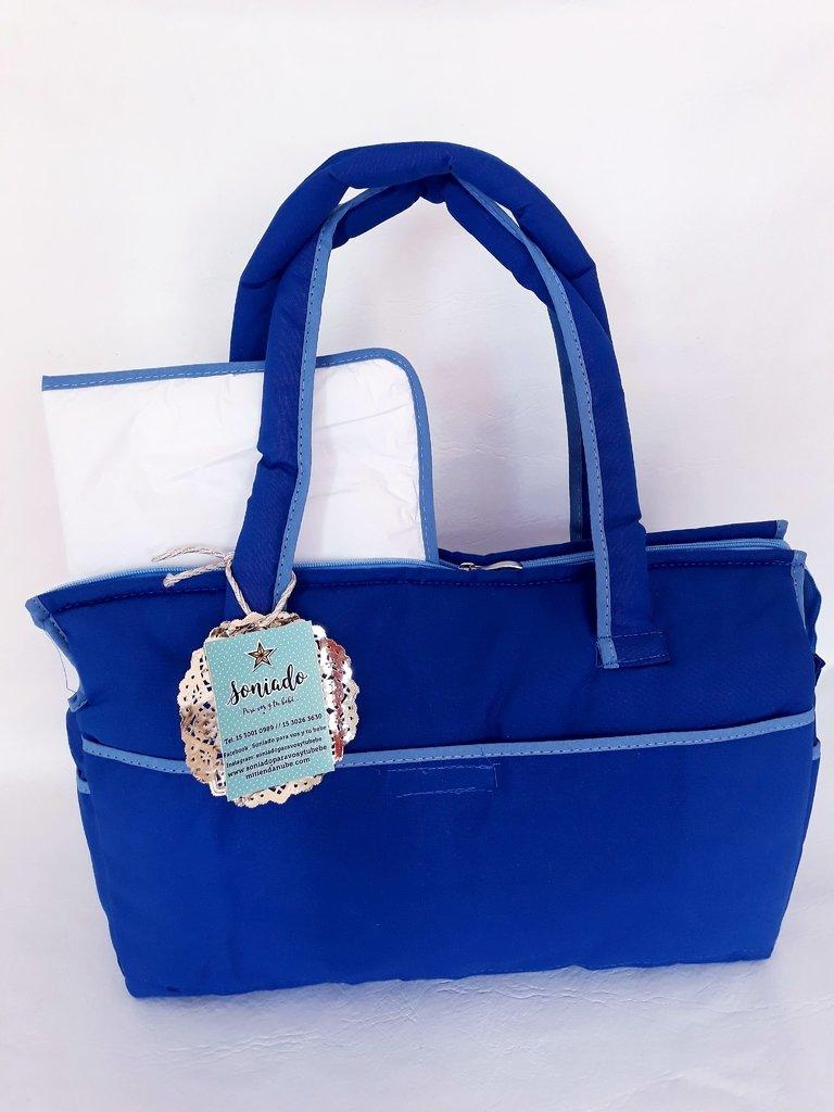78e951670 Nuevo Bolso maternal liso con cambiador plegable azul!!!