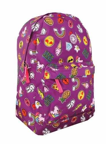 Mochila Feminina Escolar Emoji Unicórnio C/ Patches Mf8108