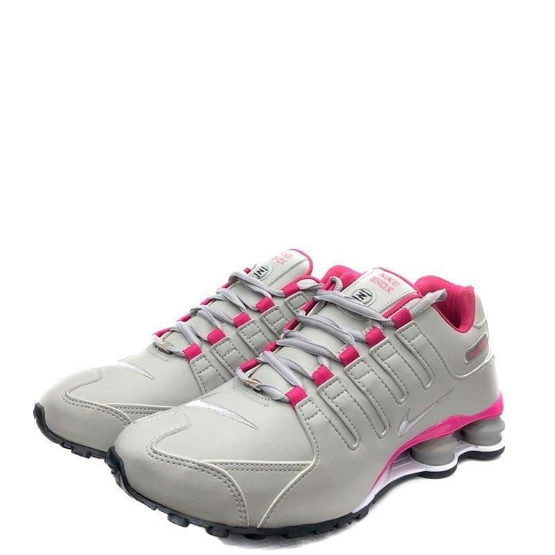 tenis nike shox feminino cinza e rosa