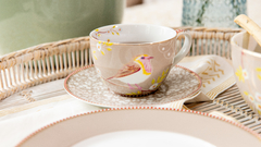 TAZA CON PLATO KHAKI FLORAL COLLECTION en internet
