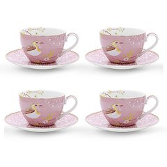 SET 4 TAZAS CON PLATO TE ROSA FLORAL COLLECTION