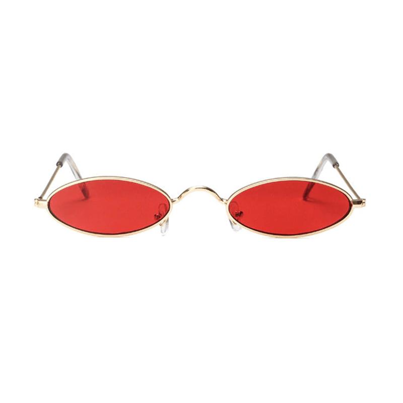 3495f3f44 Óculos de Sol Vintage Oval Armação Dourada c/ Lente Vermelha