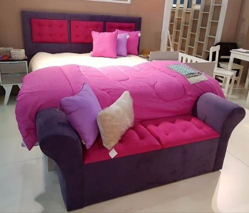 Respaldo Cama 2 Plazas,con Luz De Led Exclusivo+pie De Cama - Rabbit Kids