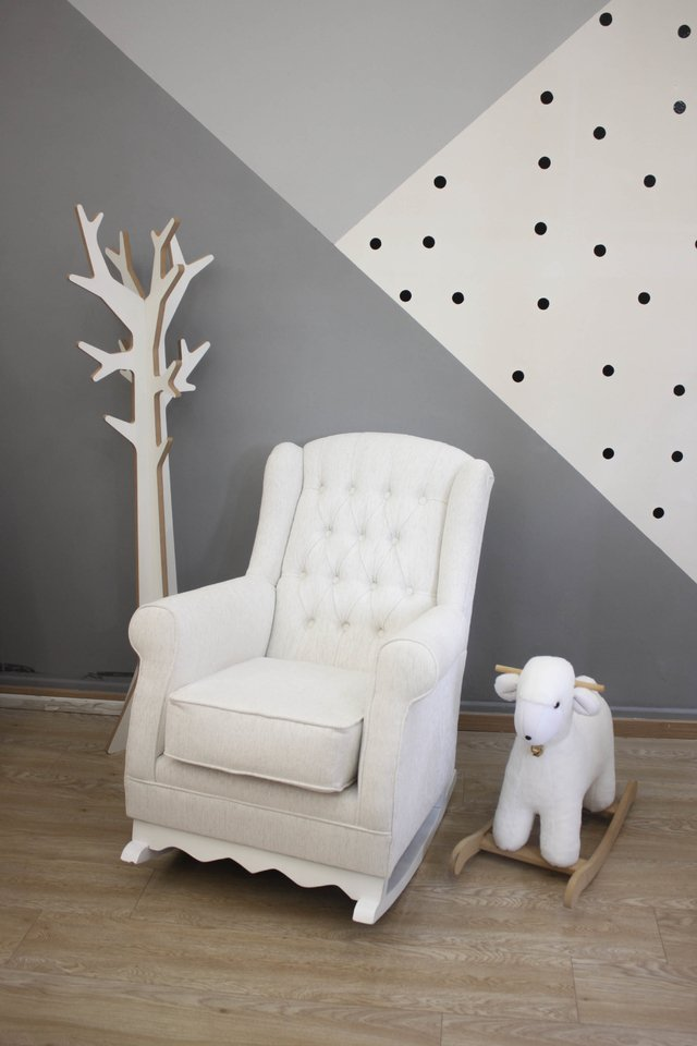 Sillon Berger Mecedor, Chenille, Sillon Ideal Para Amamantar - Rabbit Kids