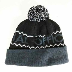 Gorro Pom Pom Official Preto Cinza Original - HB Point