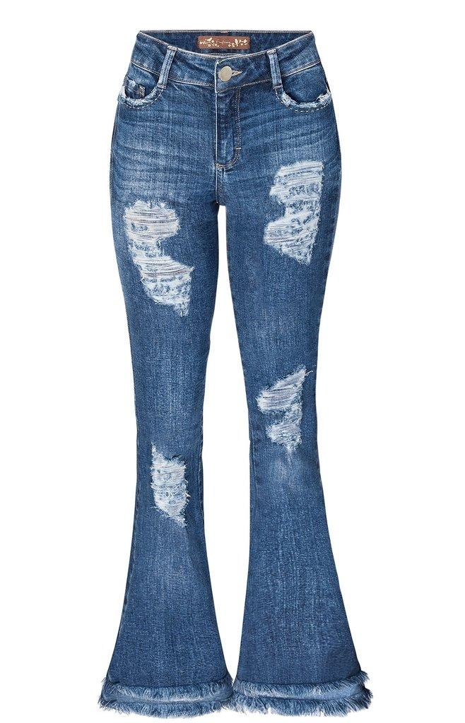 61715383e Calça Jeans Flare Cintura Alta Enfim - Joan Modas
