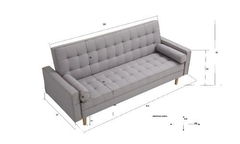 Sofa -futon -cama-vintage -tela -grey -3 Cuerpos OUTLET - FURNITECH