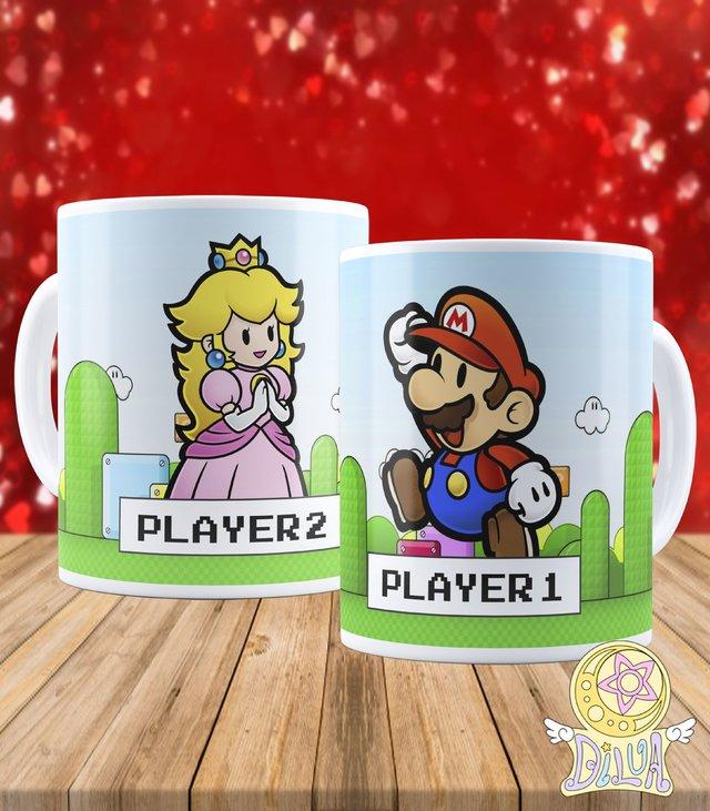 7b05fb660afe3a Kit Canecas Super Mario e Princesa Peach ~Player 1 e Player 2