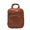 Morral de cuerina con bolsillo color marron