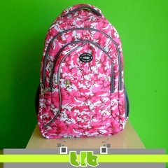 MOCHILA COLLAGE CAMUFLADA ROSA