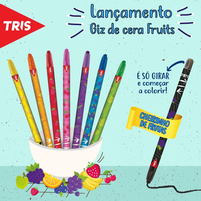 GIZ DE CERA TRIS FRUITS COM 8 CORES