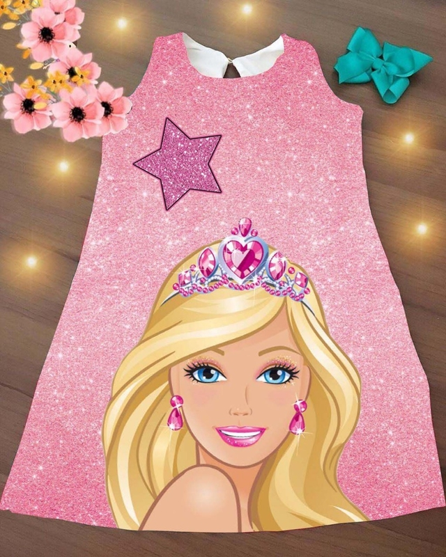 Vestido Barbie Trapézio estrela infantil
