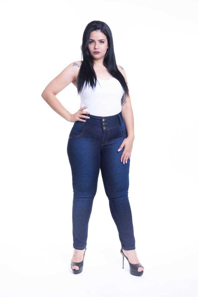 96cc561c0 Calça Jeans Feminina Plus Size Cós Largo Cintura Alta Levanta Bumbum Cheris Referência  1942