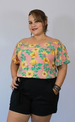SHORTS ALFAIATARIA PLUS SIZE PRETO - Estilize Plus Size