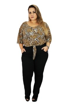 BLUSA PLUS SIZE EM CREPE BUBBLE - Estilize Plus Size