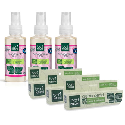KIT 3 Desodorante + 3 Creme Dental Boni Natural