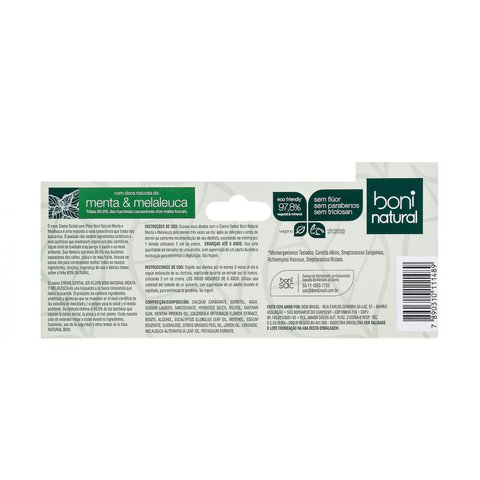 Kit 4 Creme Dental Sem Flúor Menta Melaleuca Boni Natural na internet