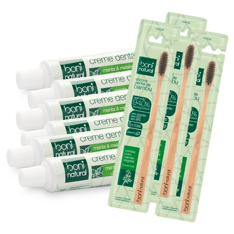 Kit 6 Creme Dental Vegano  + 3 Escova com Cabo Bambo - Boni Natural