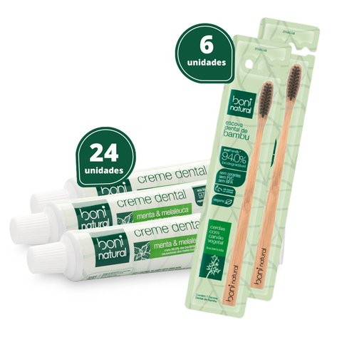 Kit 24 Creme Dental + 6 Escova Cabo Bambo - Boni Natural