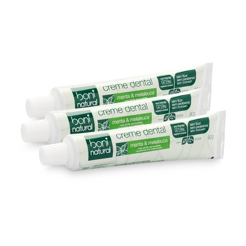 Kit 3 Creme Dental Sem Flúor Menta Melaleuca Boni Natural