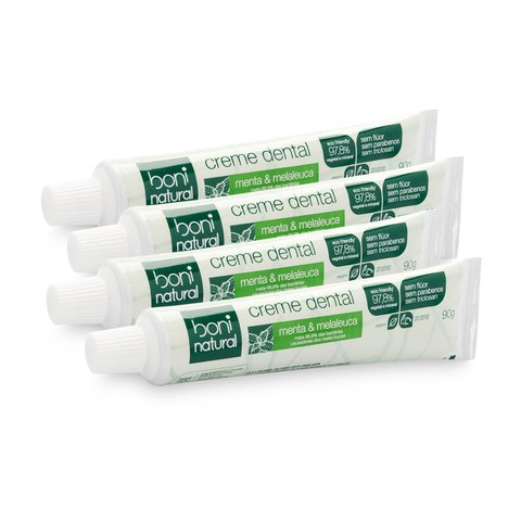 Kit 4 Creme Dental Sem Flúor Menta Melaleuca Boni Natural