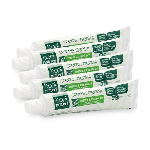 Kit 5 Creme Dental Sem Flúor Menta Melaleuca Boni Natural