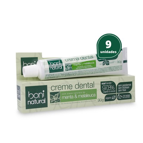 Kit 9 Creme Dental Sem Flúor Menta Melaleuca Boni Natural
