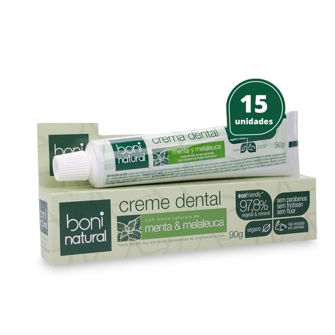 Kit 15 Creme Dental Sem Flúor Menta Melaleuca Boni Natural