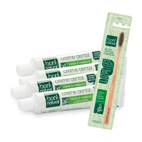Kit 4 creme dental + 1 Escova Cabo Bambo - Boni Natural