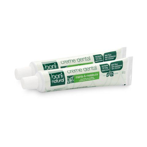 Kit 2 Creme Dental Sem Flúor Menta Melaleuca Boni Natural
