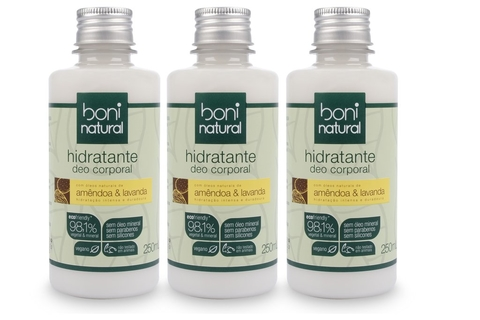 KIT 3 Hidratante Boni Natural Amêndoa e Lavanda 250ml