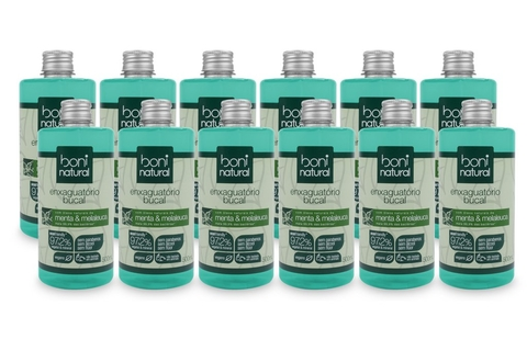 KIT 12 Antisseptico Bucal Boni Natural Menta,Melaleuca 500ml