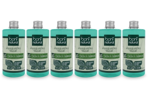 KIT 6 Antisséptico Bucal Boni Natural Menta,Melaleuca 500ml