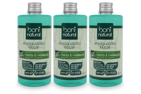 KIT 3 Antisséptico Bucal Boni Natural, Menta Melaleuca 500ml