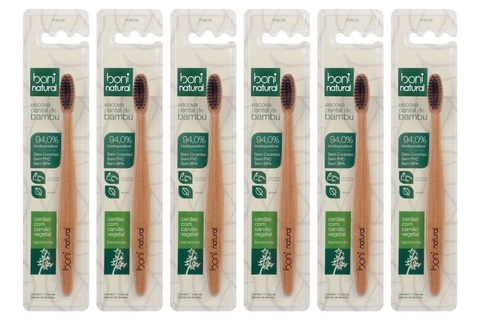 KIT 6 Escova Dental Boni Natural Bambu e Carvão