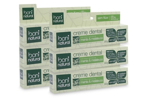 KIT 6 Creme Dental Boni Natural Menta  e Melaleuca 90g