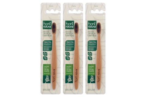 KIT 3 Escova Dental Boni Natural Bambu e Carvão