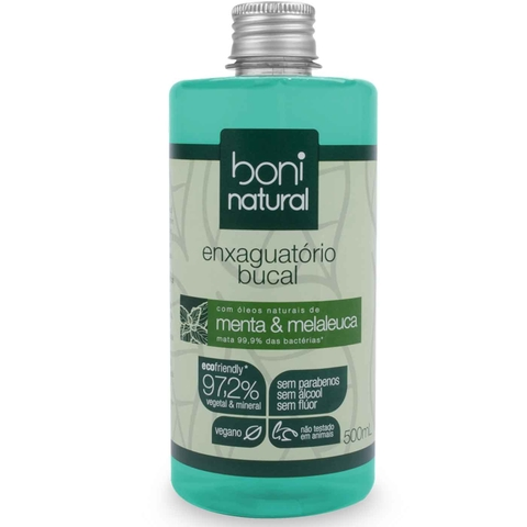 Antisséptico Bucal Boni Natural Menta e Melaleuca 500ml