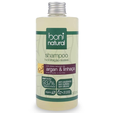 Shampoo Boni Natural Argan e Linhaça 500ml