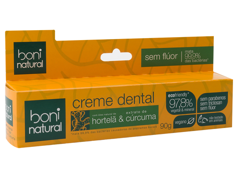 Creme Dental Boni Natural Hortela e Curcuma 90g