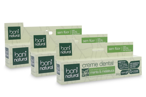 KIT 3 Creme Dental Boni Natural Menta e Melaleuca 90g