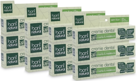 KIT 12 Creme Dental Boni Natural Menta e Melaleuca 90g