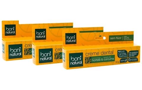 KIT 3 Creme Dental Boni Natural Hortela e Curcuma 90g