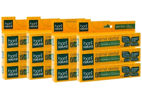 KIT 12 Creme Dental Boni Natural Hortela e Curcuma 90g