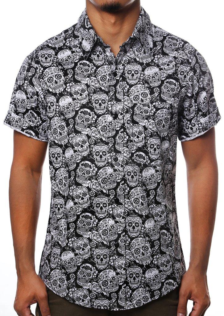 17ae41668 Camisa Casual Estampada Caveira Floral Havaiana Florida
