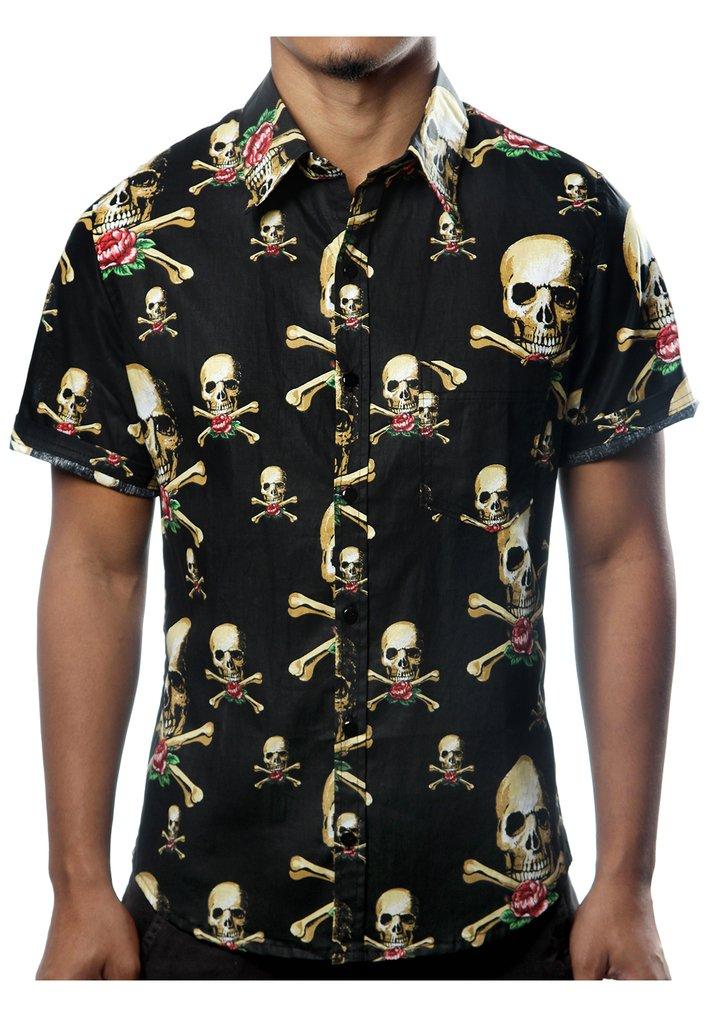 c3d7124ef1 Camisa Casual Estampada Caveira Pirata Vintage Rock. 0% OFF