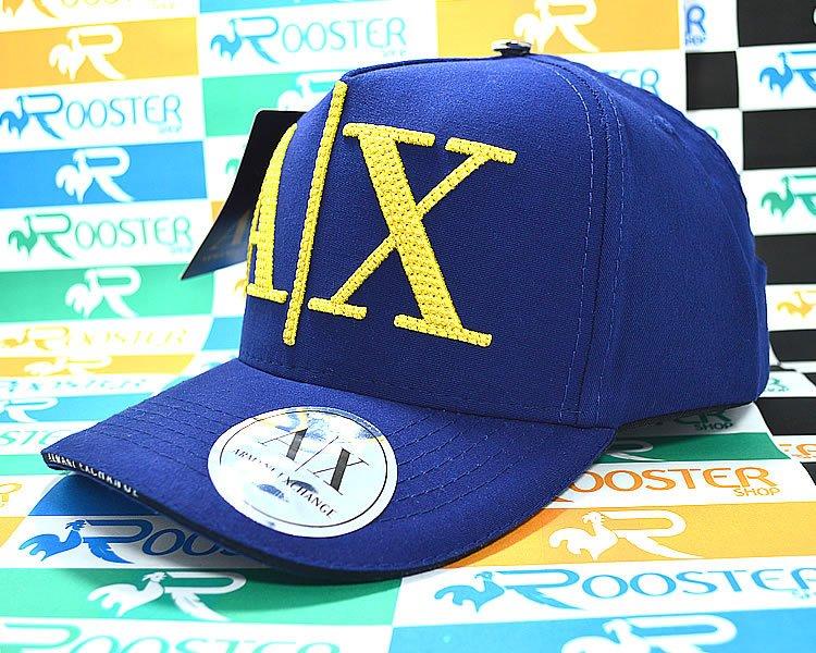 808c306f8c777 Boné Armani Exchange AX Classic Azul Logo Dourada Aba Curva Strapback  Unissex
